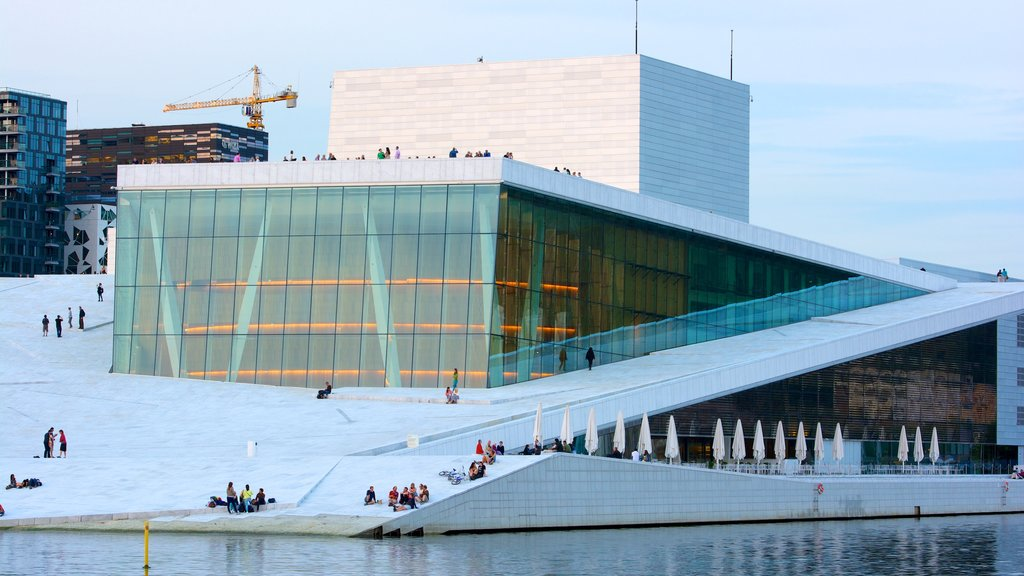 Oslo Opera House showing modern architecture and theater scenes