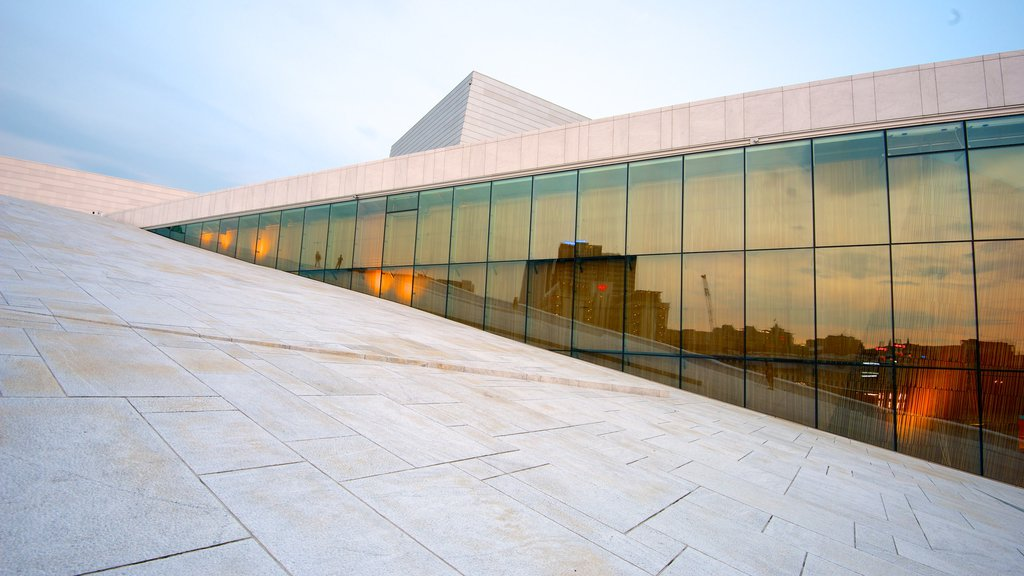 Oslo Opera House showing theater scenes and modern architecture