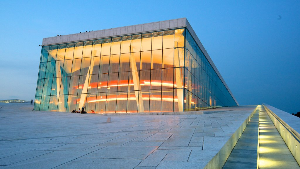Oslo Opera House showing theater scenes, modern architecture and night scenes
