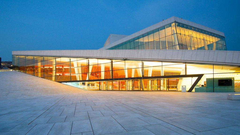 Oslo Opera House featuring modern architecture, theater scenes and night scenes