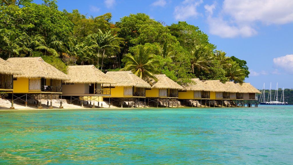 Iririki Island which includes a luxury hotel or resort, tropical scenes and general coastal views