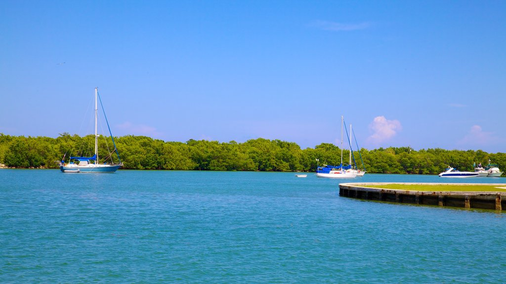 Bill Baggs Cape Florida State Park showing general coastal views, a bay or harbor and sailing