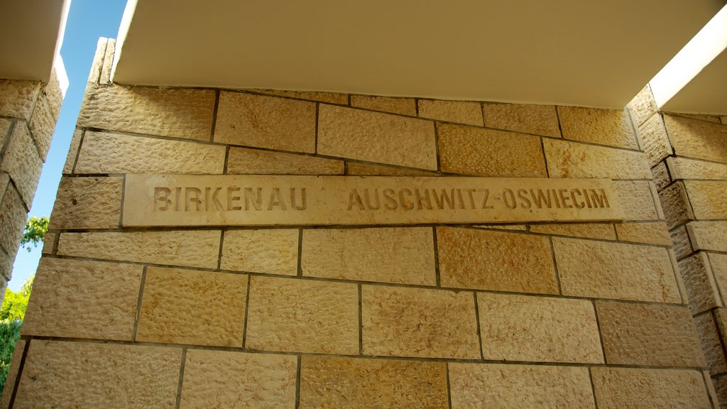 Holocaust Memorial featuring a memorial and signage