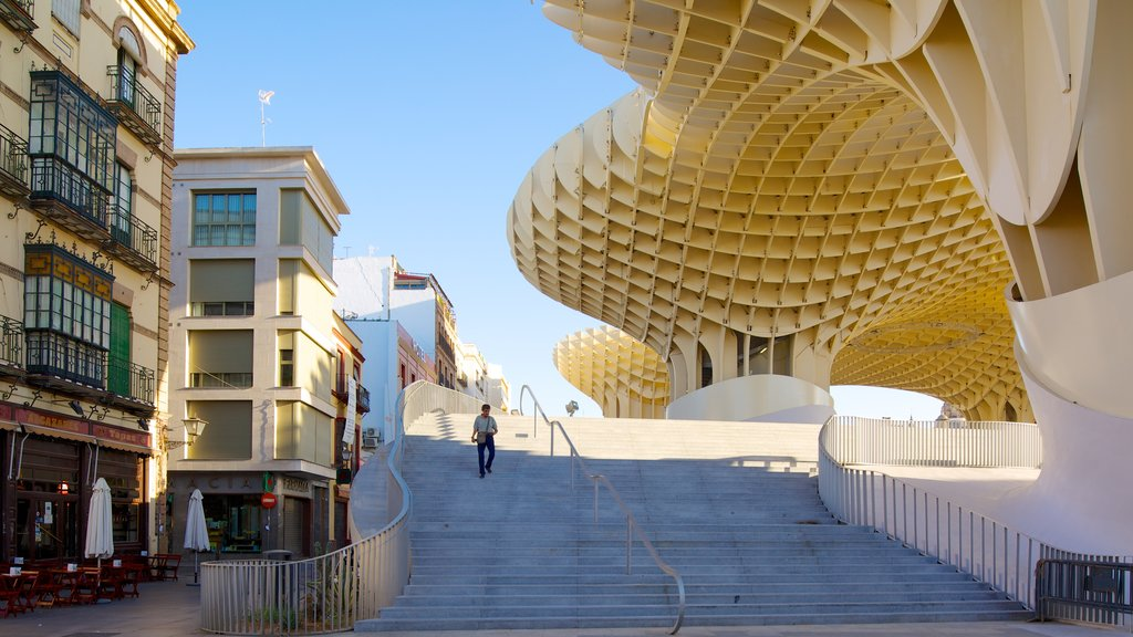 Metropol Parasol featuring a city, modern architecture and street scenes