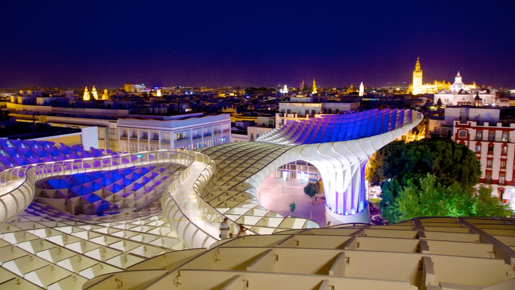 Metropol Parasol featuring night scenes, modern architecture and skyline