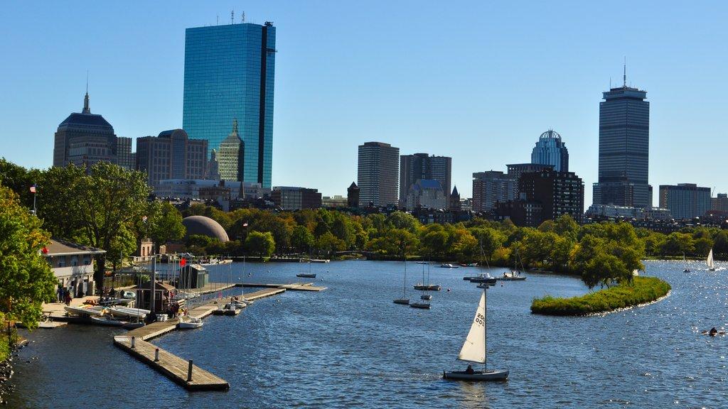 Boston showing a marina, a bay or harbor and sailing