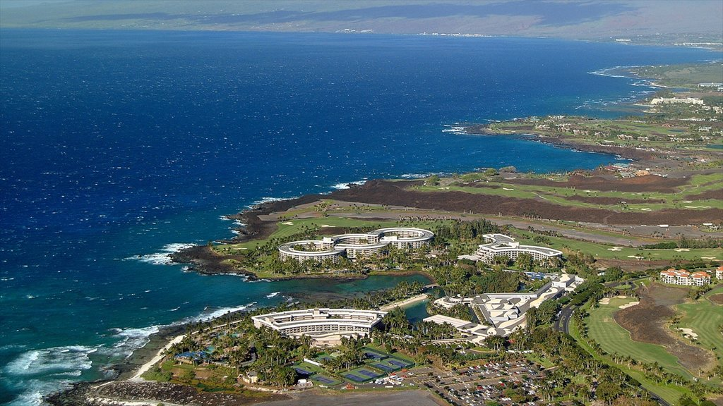 Waikoloa showing a coastal town and general coastal views