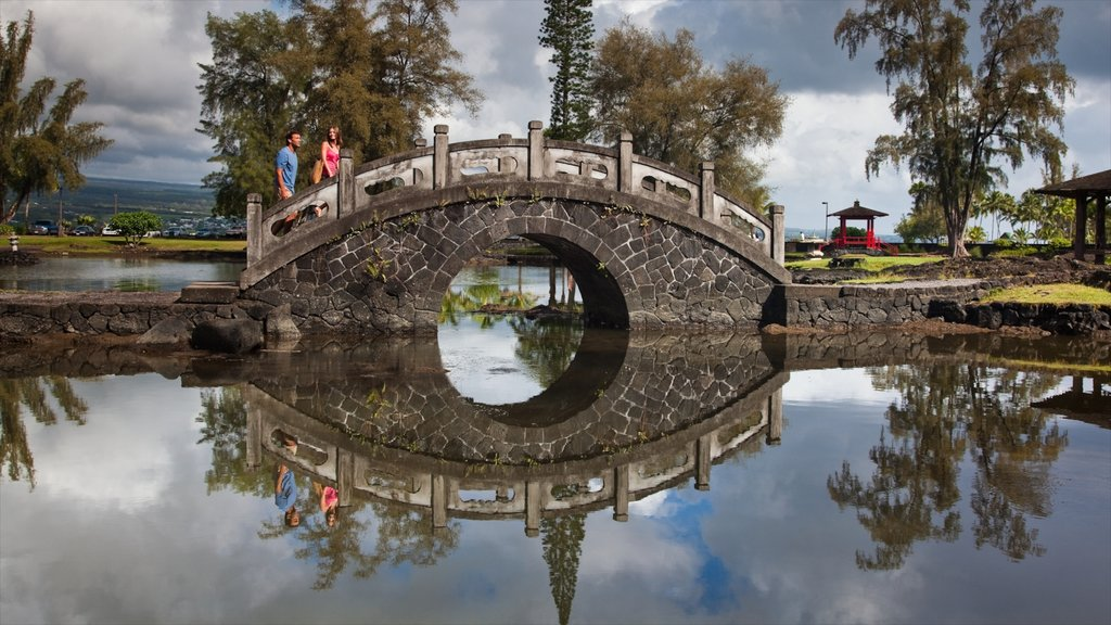 Liliuokalani Park and Gardens featuring a bridge, a pond and a park