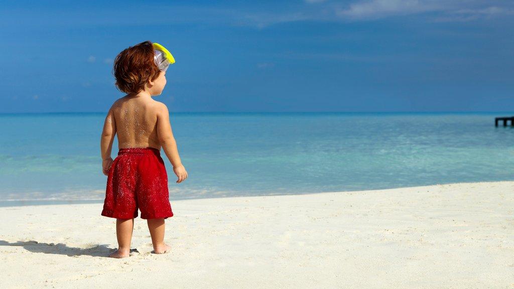 Aruba featuring a sandy beach as well as an individual child