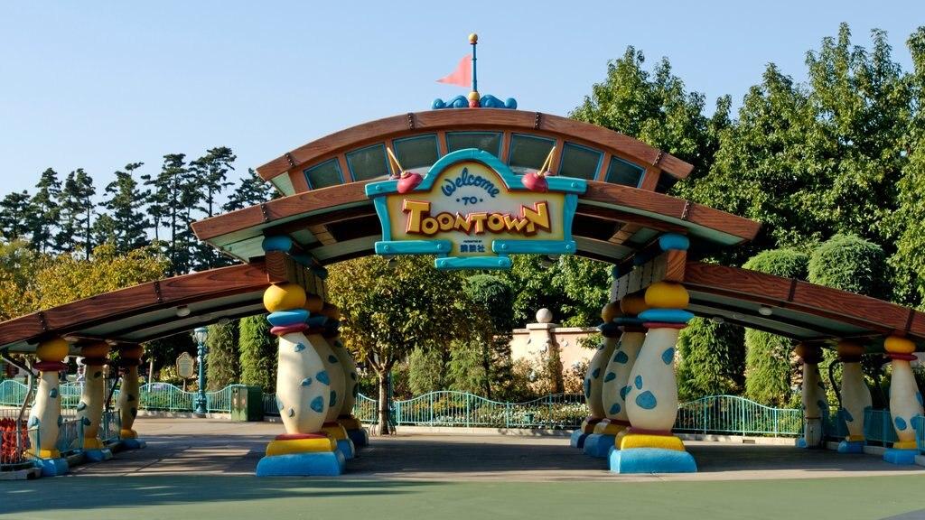 Disneyland® Tokyo showing signage and rides