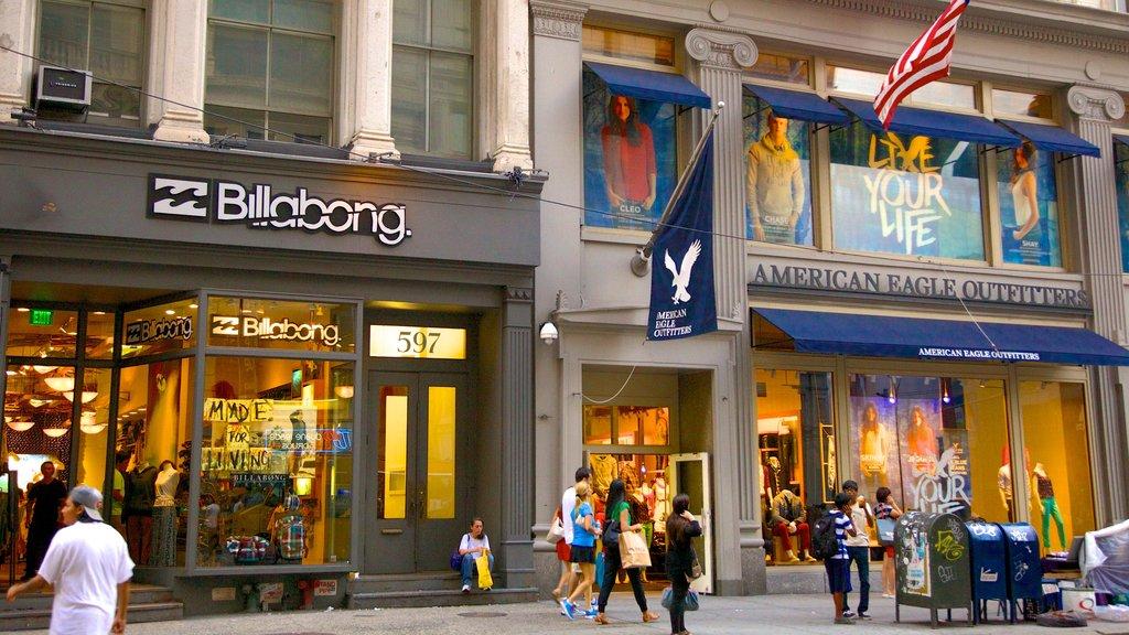 SoHo - Tribeca showing a city, shopping and signage