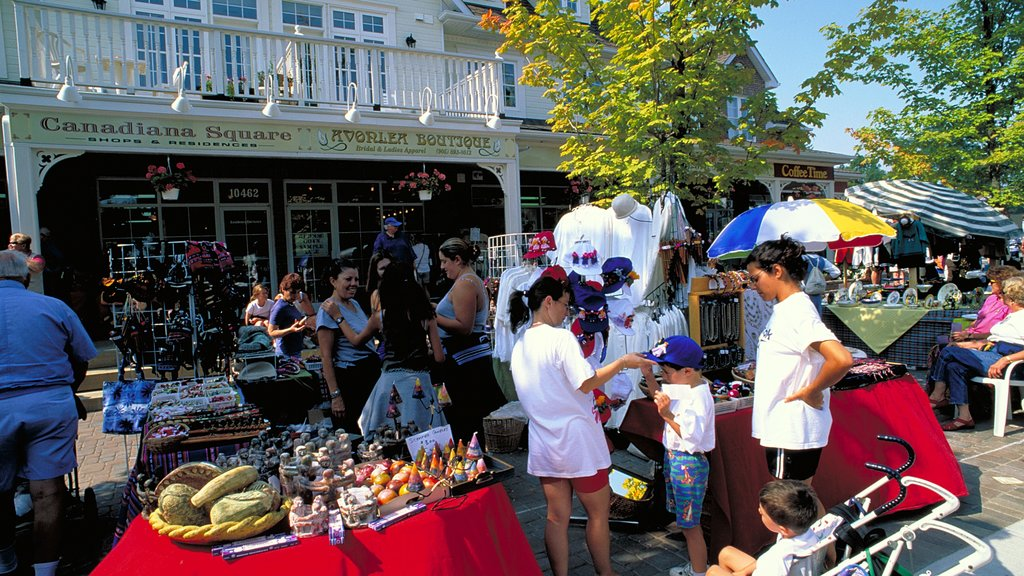 Kleinburg which includes markets as well as a large group of people