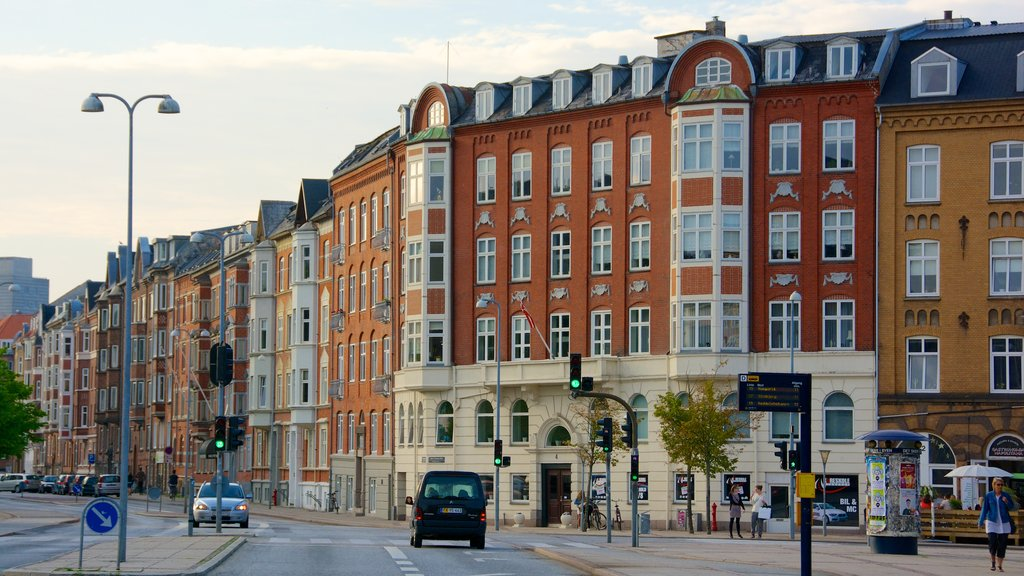 Aalborg showing street scenes, heritage architecture and a city