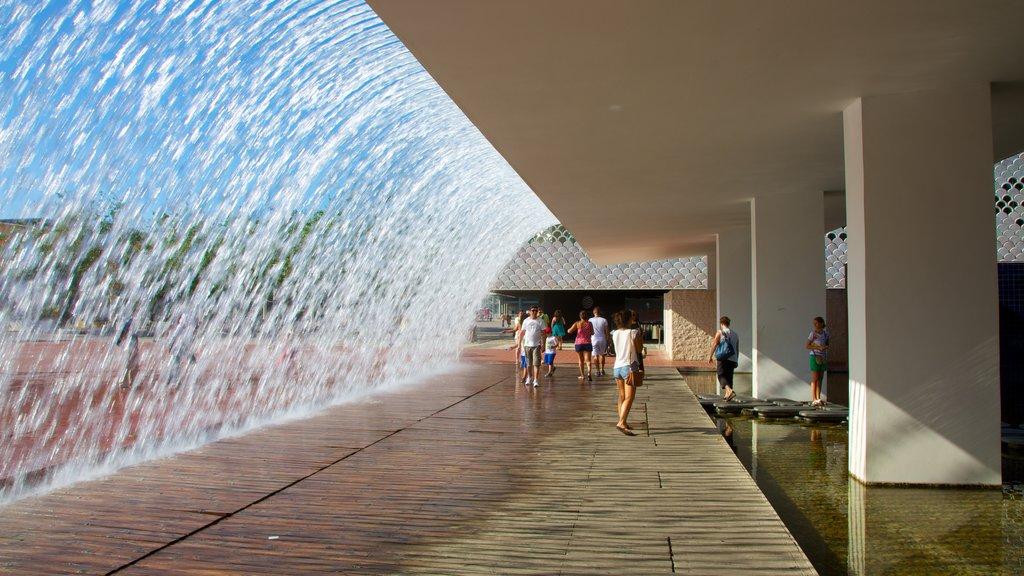 Lisbon Oceanarium which includes a fountain and marine life