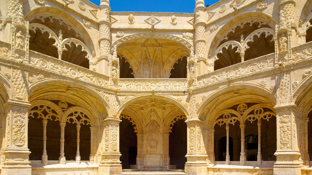Jeronimos Monastery which includes a church or cathedral and heritage architecture