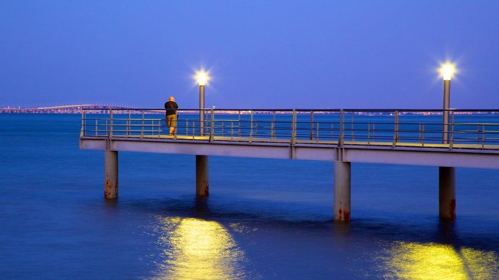 Vasco da Gama Bridge featuring night scenes and views