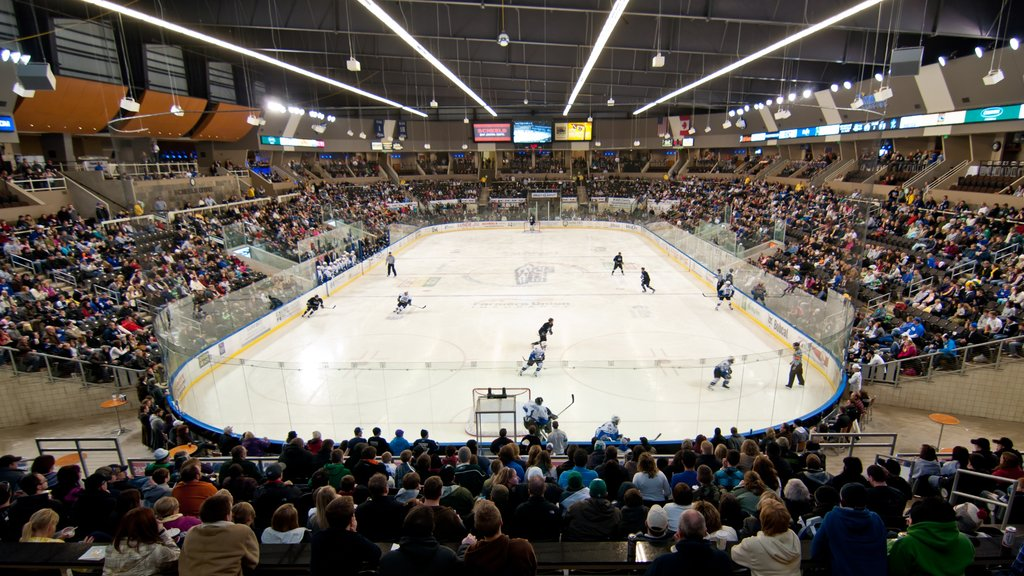 Fargo featuring a sporting event and interior views as well as a large group of people