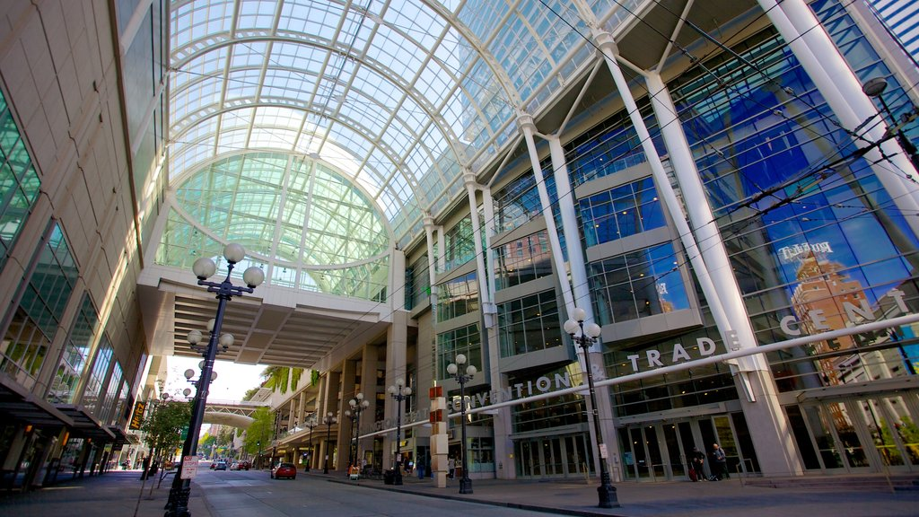 Washington State Convention Center which includes modern architecture, shopping and interior views