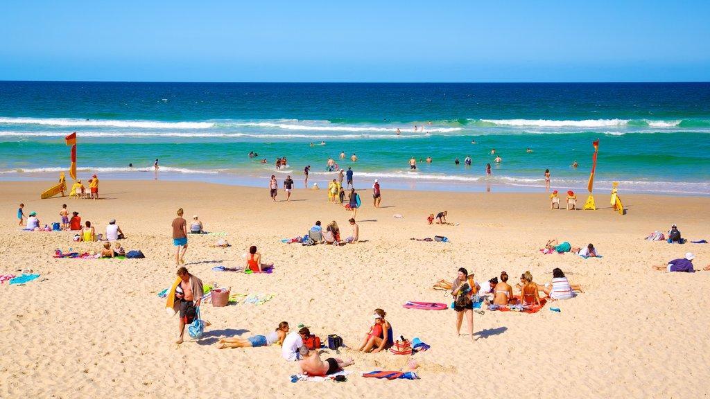 Southport mostrando una playa de arena, escenas tropicales y natación