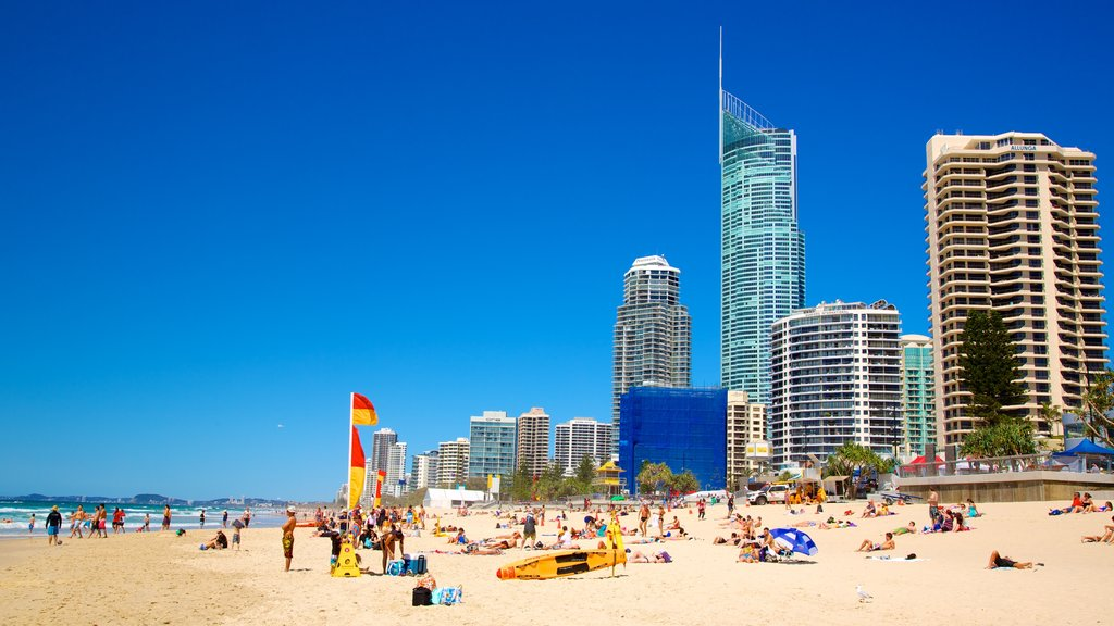 Surfers Paradise Beach which includes a beach, a high rise building and skyline