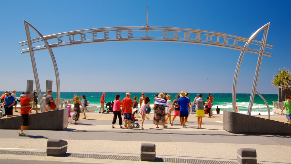 Surfers Paradise Beach showing a beach and signage as well as a large group of people