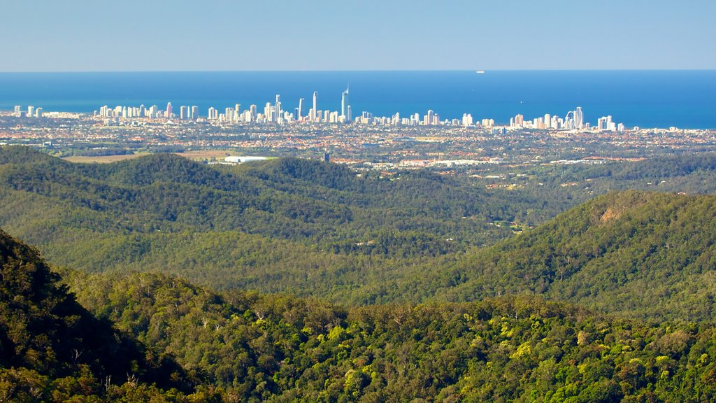 Springbrook National Park featuring mountains, a coastal town and skyline