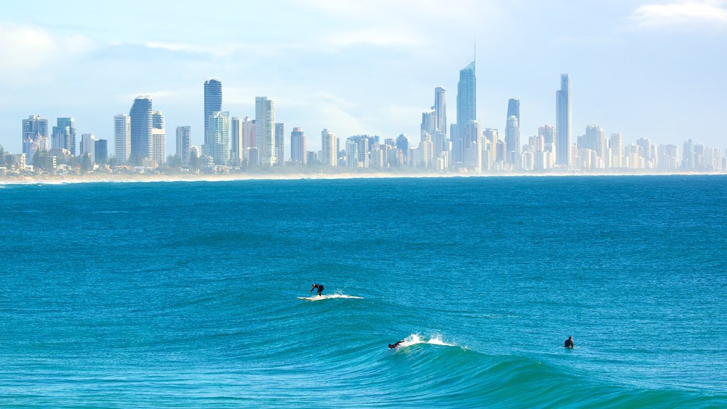 Burleigh Heads which includes general coastal views, surfing and skyline