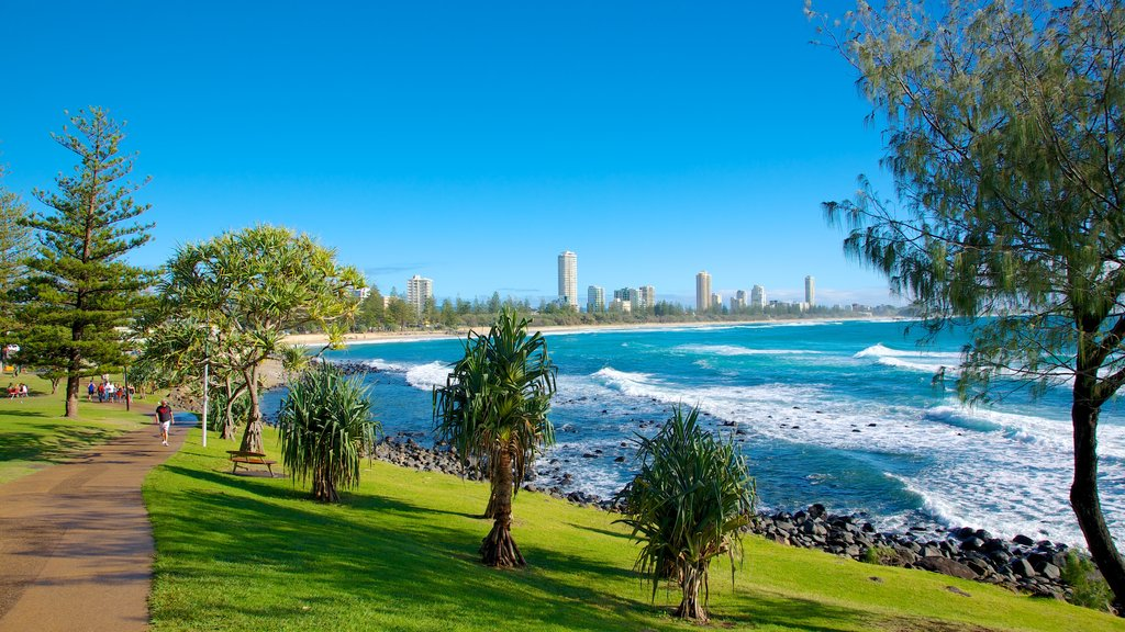Burleigh Heads showing general coastal views, surf and a coastal town