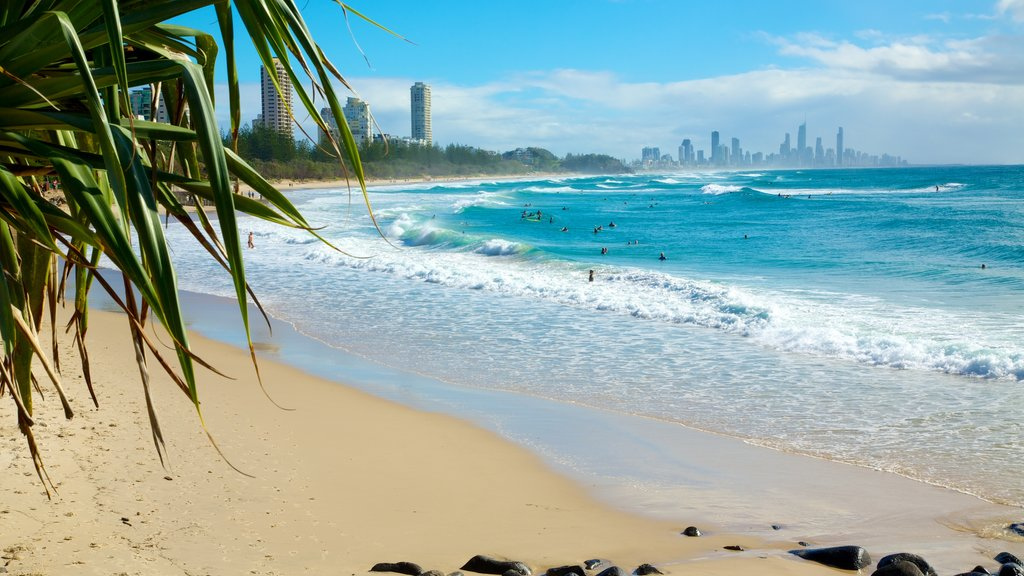 Burleigh Heads which includes a coastal town, surf and a beach