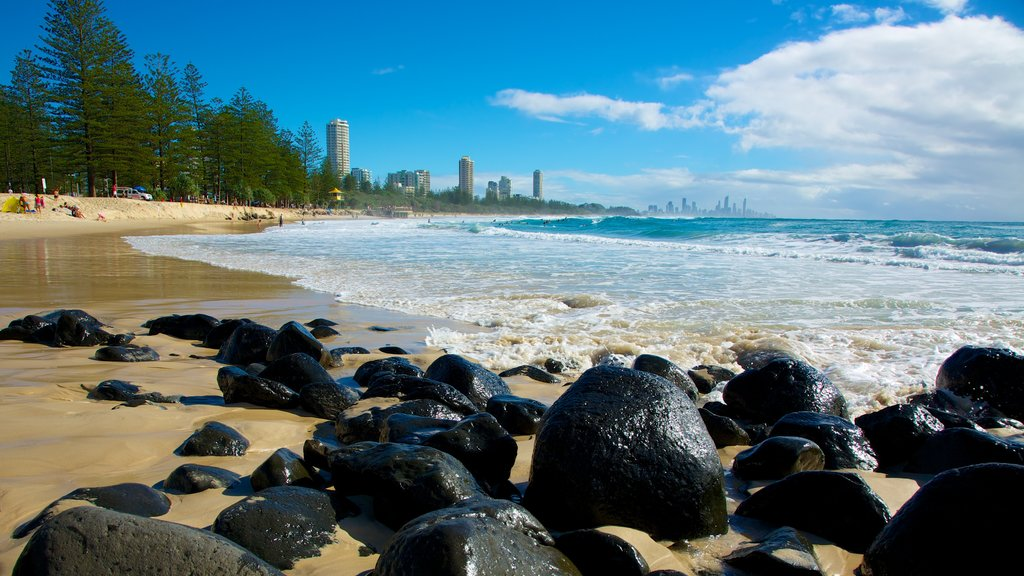 Burleigh Heads which includes a beach, rugged coastline and general coastal views