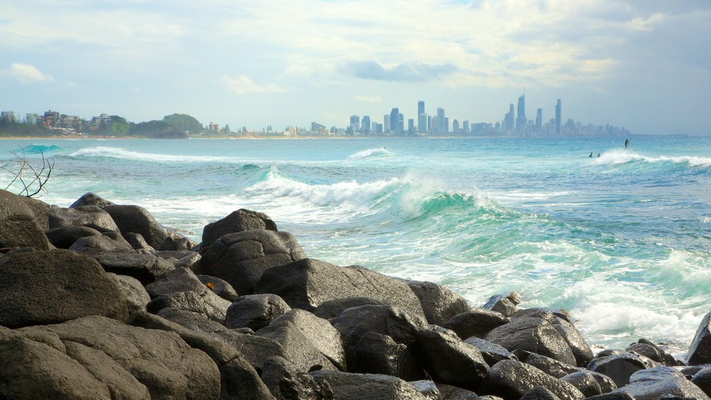 Burleigh Head National Park which includes rugged coastline, general coastal views and surf