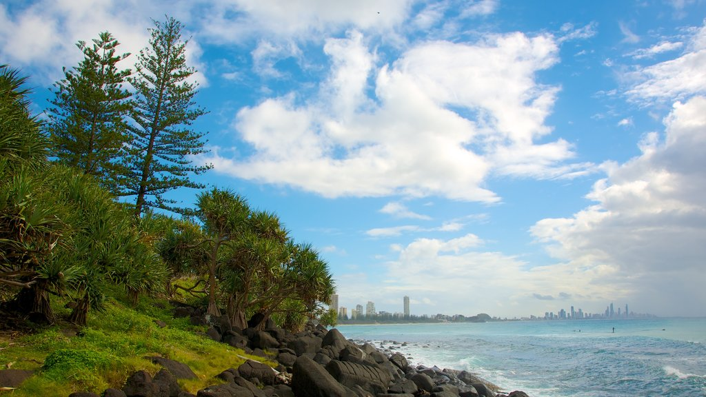 Burleigh Head National Park showing landscape views and rugged coastline