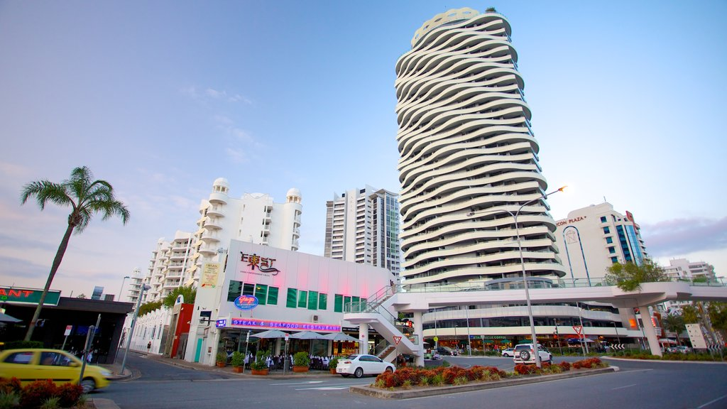 Broadbeach featuring modern architecture and a high rise building
