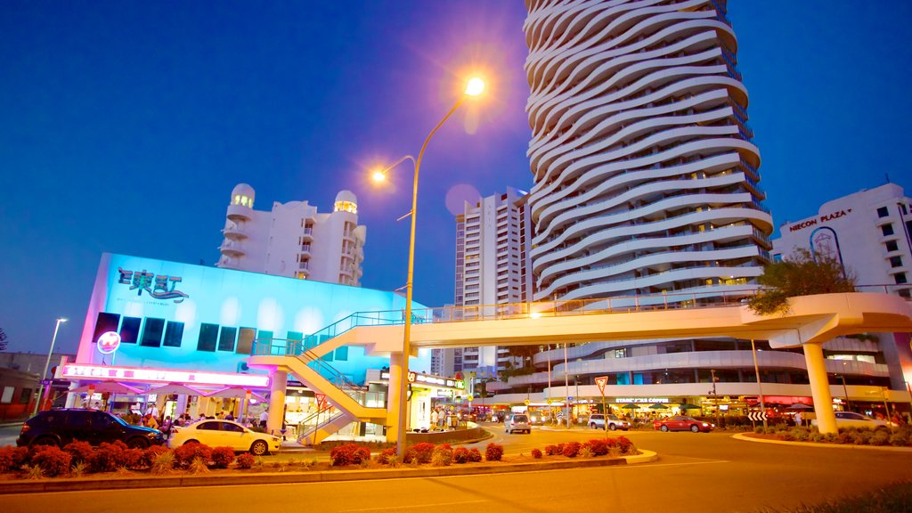 Broadbeach which includes modern architecture, central business district and a city