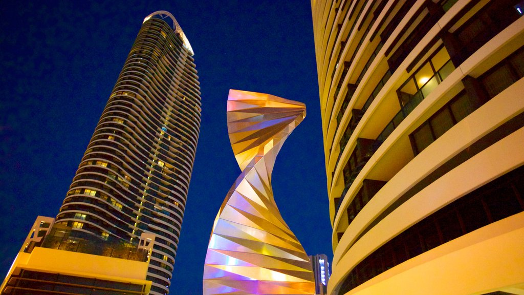 Broadbeach which includes a high rise building, central business district and modern architecture