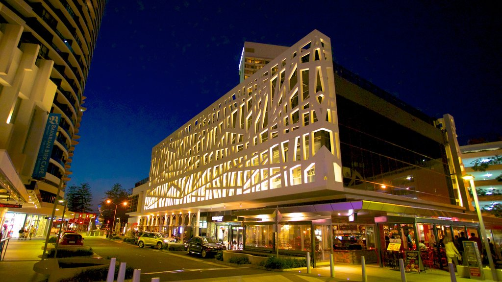 Broadbeach featuring modern architecture, night scenes and a city