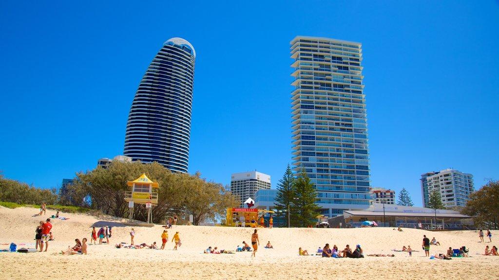 Kurrawa Beach featuring modern architecture, a skyscraper and a sandy beach