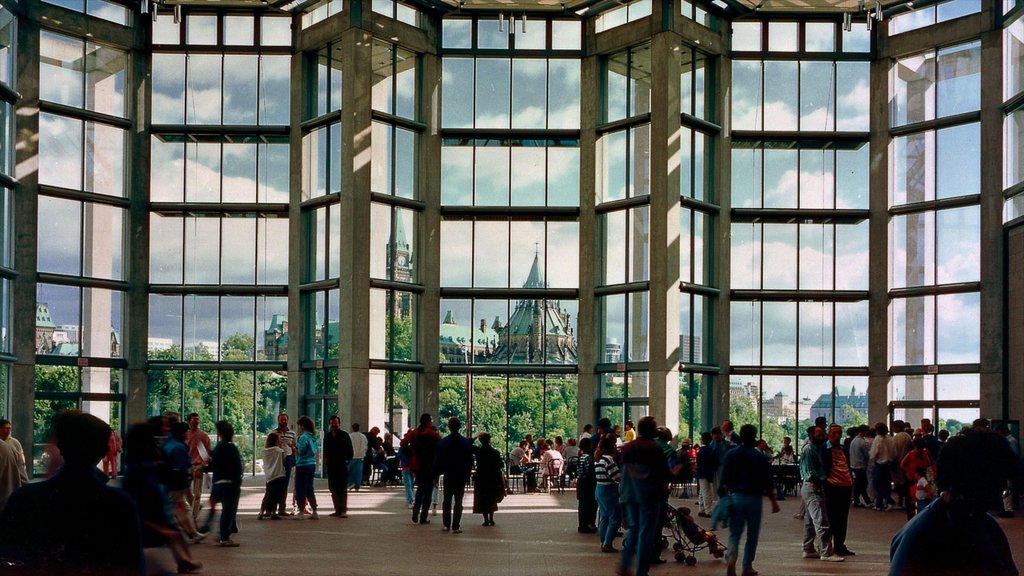 National Gallery of Canada featuring interior views as well as a large group of people