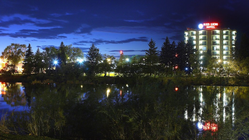 Idaho Falls showing a river or creek, a hotel and night scenes