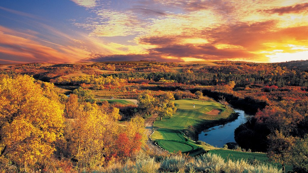Regina showing fall colors, a river or creek and landscape views