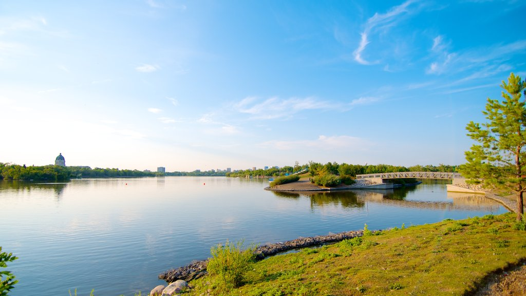 Wascana Park showing a lake or waterhole, a garden and landscape views