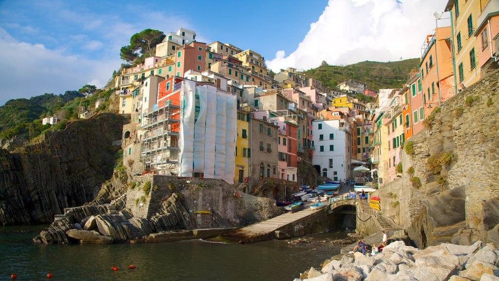 Riomaggiore showing a coastal town and rocky coastline