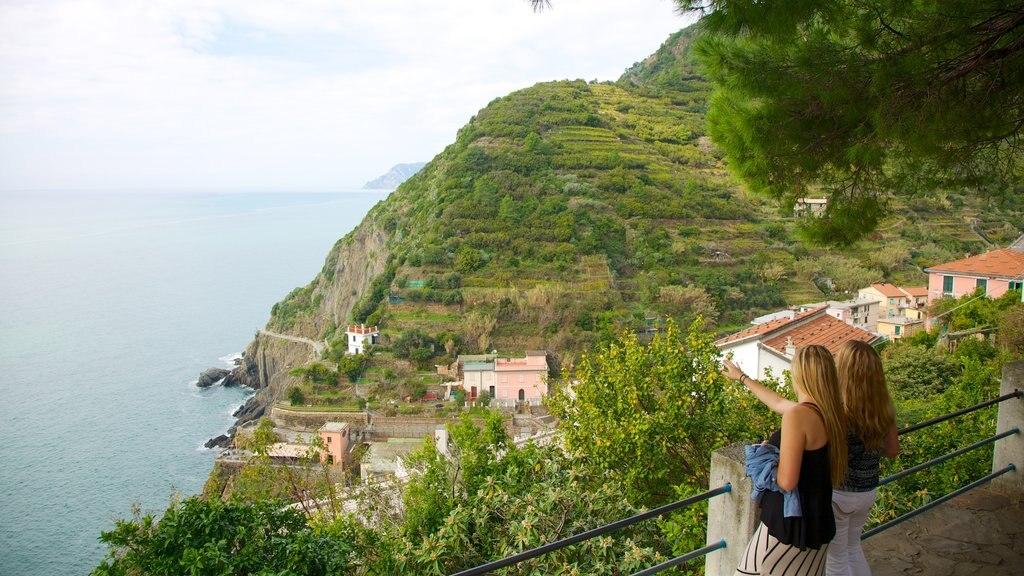 Riomaggiore which includes mountains, rocky coastline and a coastal town