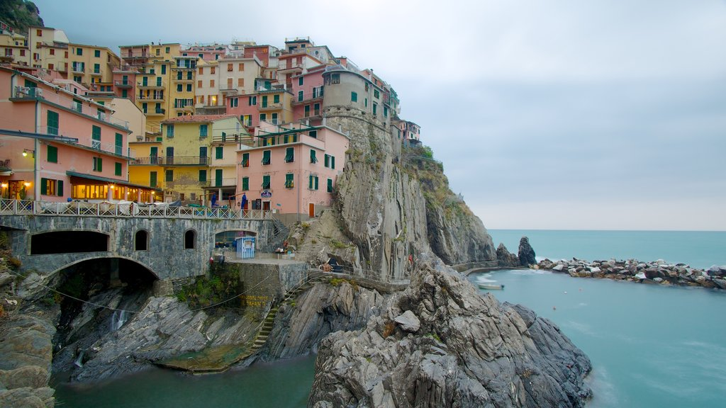 Manarola which includes rocky coastline, night scenes and a coastal town
