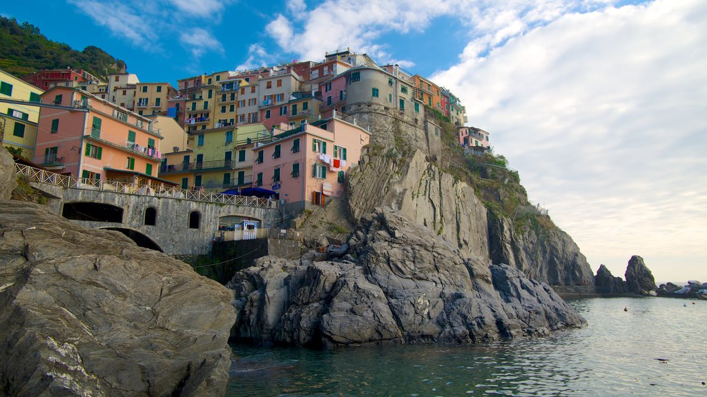 Manarola which includes rocky coastline, a house and a coastal town