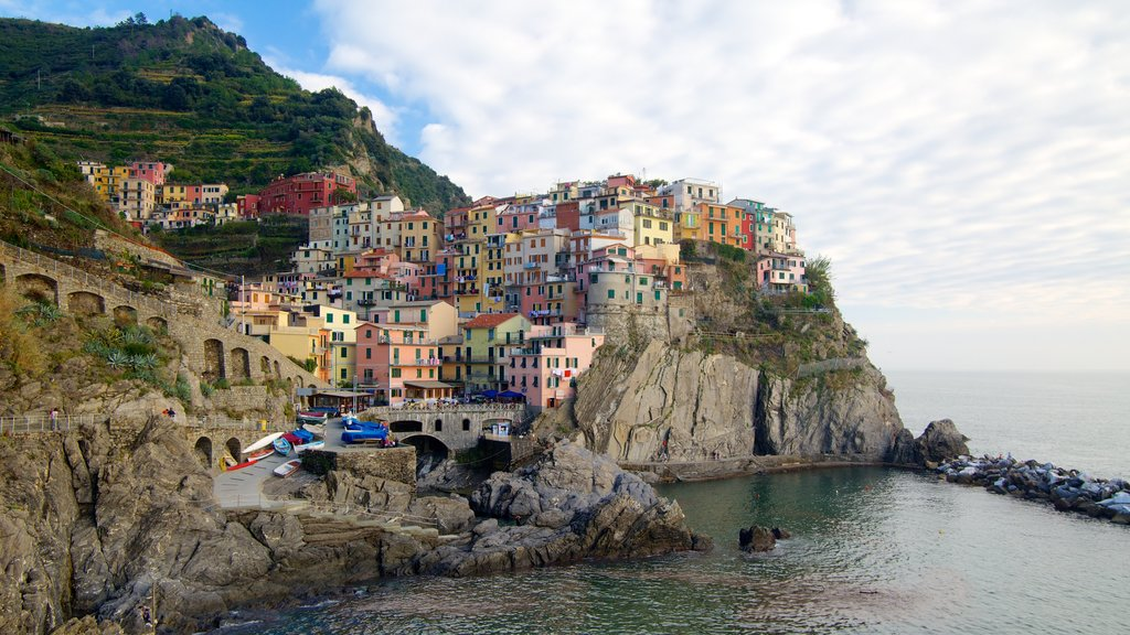 Manarola featuring rocky coastline, a coastal town and mountains