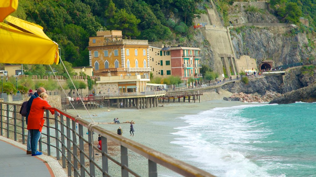 Monterosso al Mare showing views, a pebble beach and a coastal town