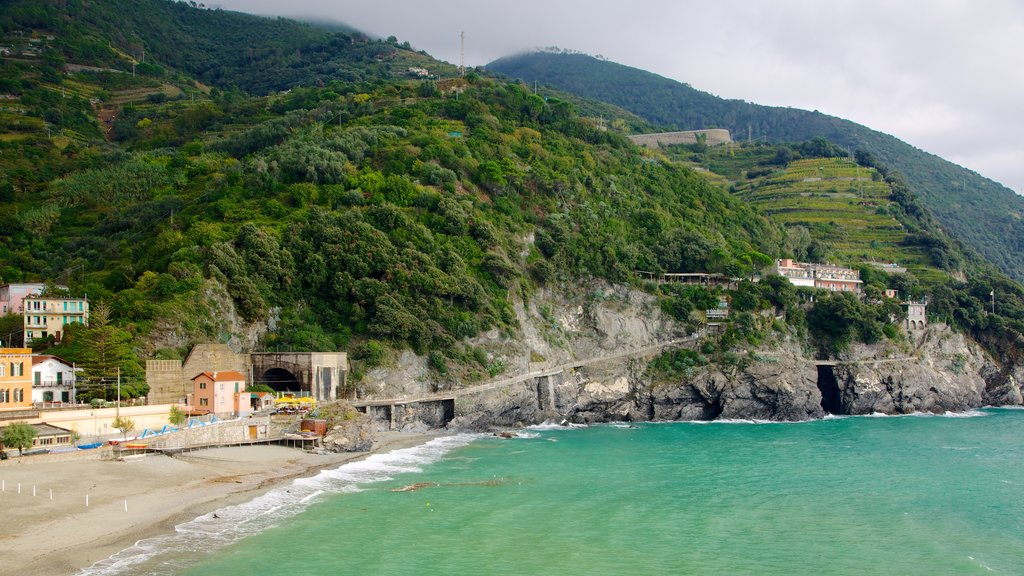 Monterosso al Mare featuring a coastal town and a sandy beach