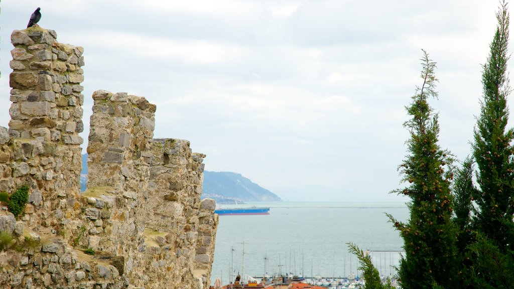 Castello San Giorgio which includes general coastal views, building ruins and heritage architecture