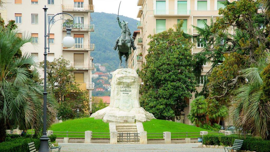 La Spezia which includes a statue or sculpture, a garden and a city